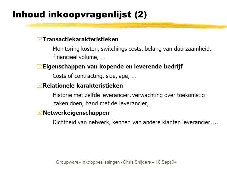Groupware - Inkoopbeslissingen - Chris Snijders – 10 Sept 04 Inhoud inkoopvragenlijst (2) +Transactiekarakteristieken Monitoring kosten, switchings co