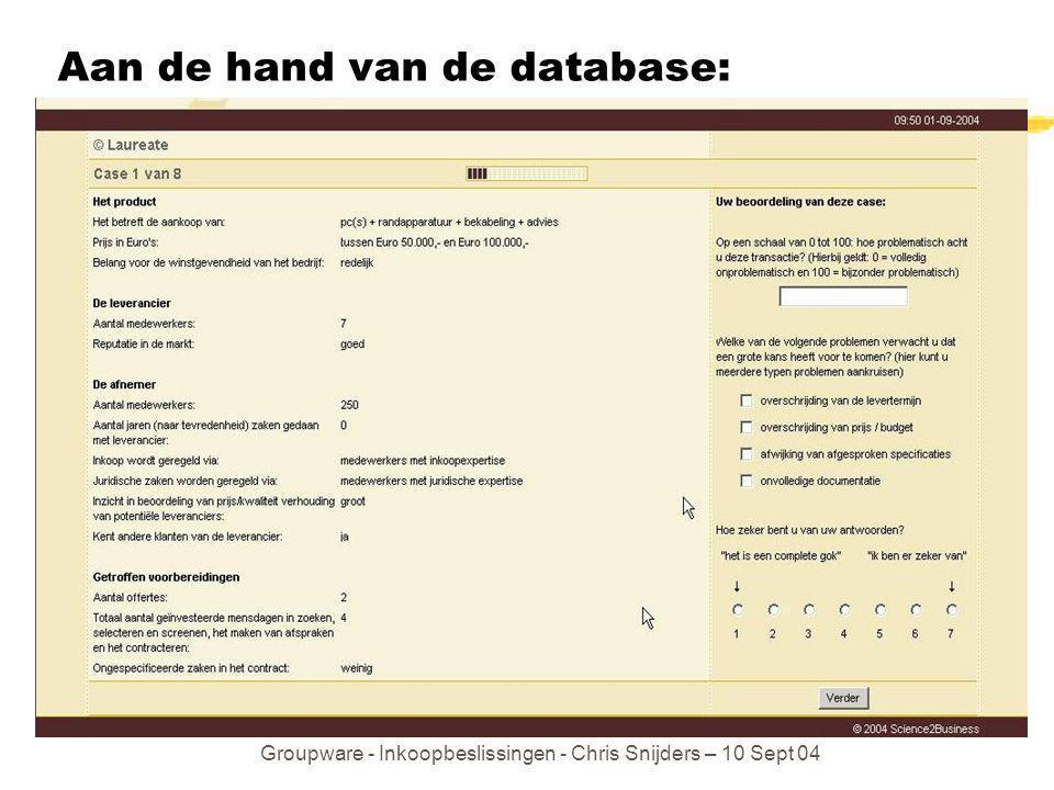 Groupware - Inkoopbeslissingen - Chris Snijders – 10 Sept 04 Aan de hand van de database: