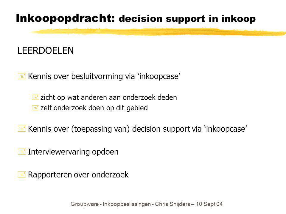 Groupware - Inkoopbeslissingen - Chris Snijders – 10 Sept 04 Inkoopopdracht: decision support in inkoop LEERDOELEN +Kennis over besluitvorming via 'in