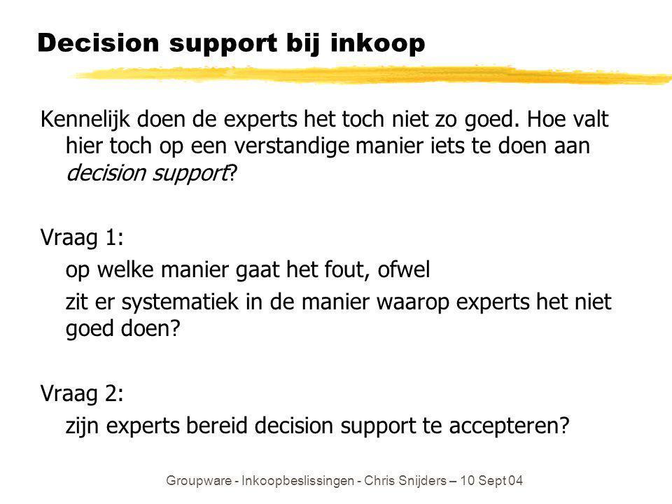 Groupware - Inkoopbeslissingen - Chris Snijders – 10 Sept 04 Decision support bij inkoop Kennelijk doen de experts het toch niet zo goed. Hoe valt hie