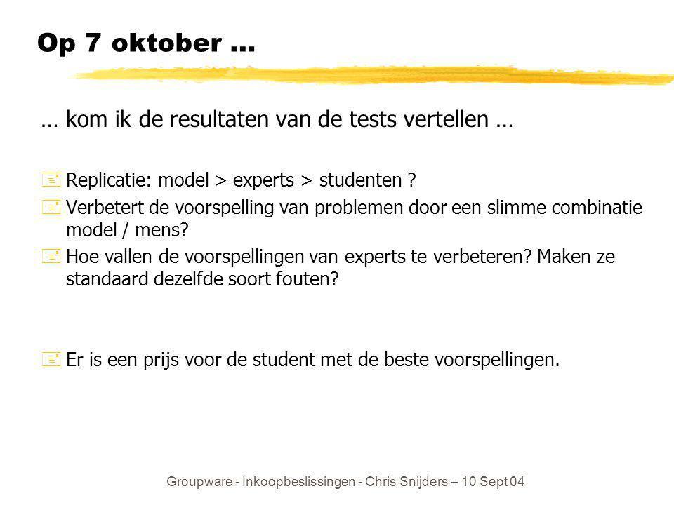 Groupware - Inkoopbeslissingen - Chris Snijders – 10 Sept 04 Op 7 oktober … … kom ik de resultaten van de tests vertellen … +Replicatie: model > exper