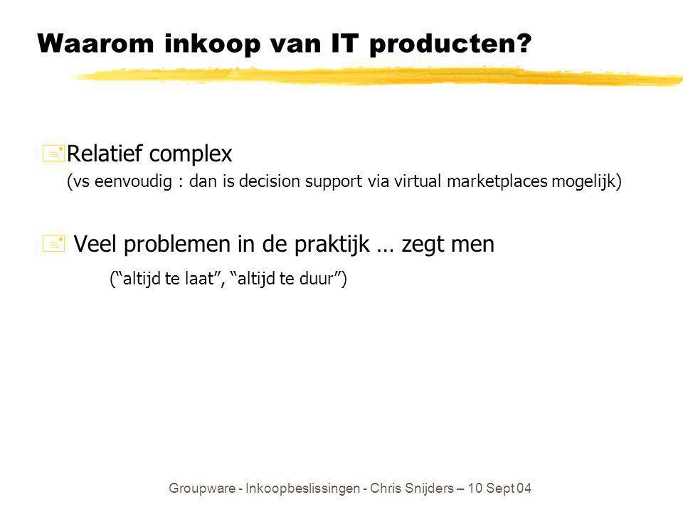 Groupware - Inkoopbeslissingen - Chris Snijders – 10 Sept 04 Inkoop van IT producten Kies juiste managementsoort en –inspanning aan de hand van U(m) = Prob{Goed}* Opbrengst(Goed) + (1 –Prob{Goed})* Opbrengst(Fout) - Kosten Dit veronderstelt ten minste dat je Prob{Goed} kunt voorspellen bij gegeven m.