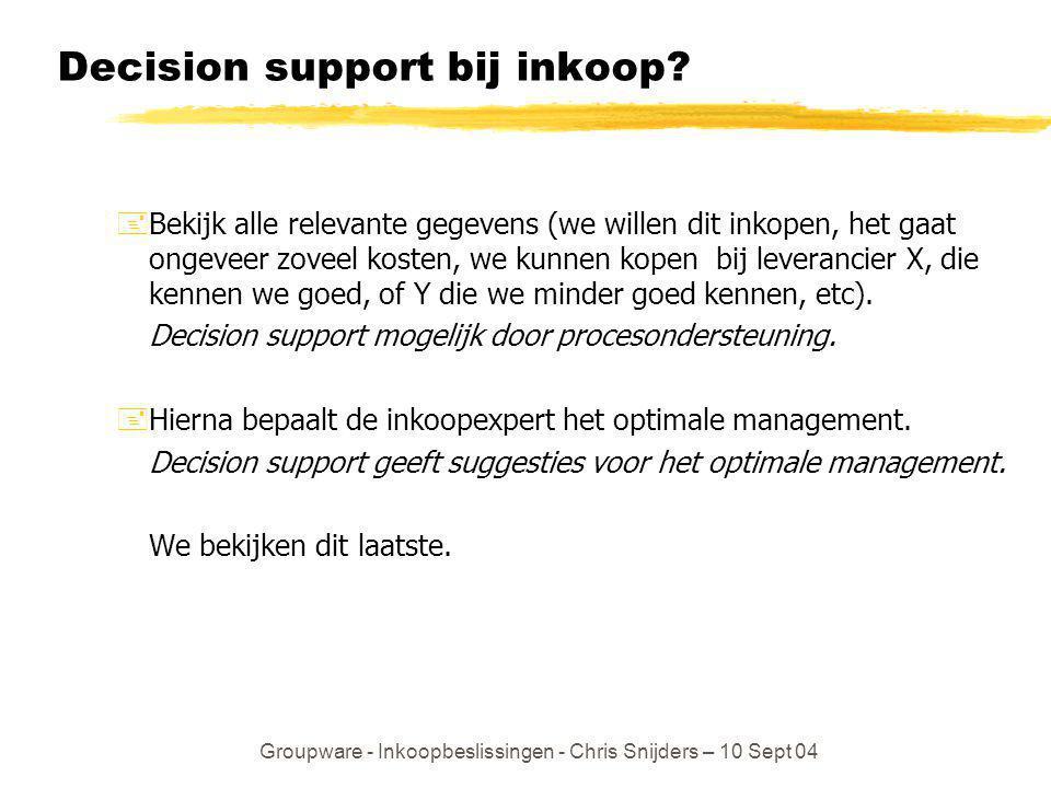 Groupware - Inkoopbeslissingen - Chris Snijders – 10 Sept 04 Decision support bij inkoop? +Bekijk alle relevante gegevens (we willen dit inkopen, het