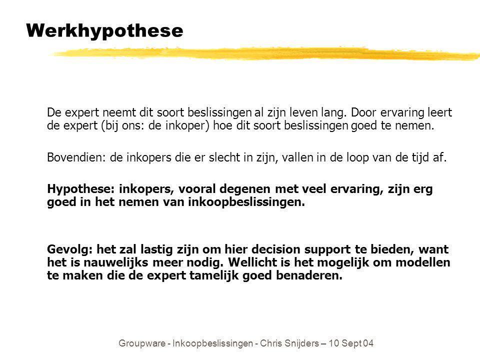 Groupware - Inkoopbeslissingen - Chris Snijders – 10 Sept 04 Werkhypothese De expert neemt dit soort beslissingen al zijn leven lang. Door ervaring le
