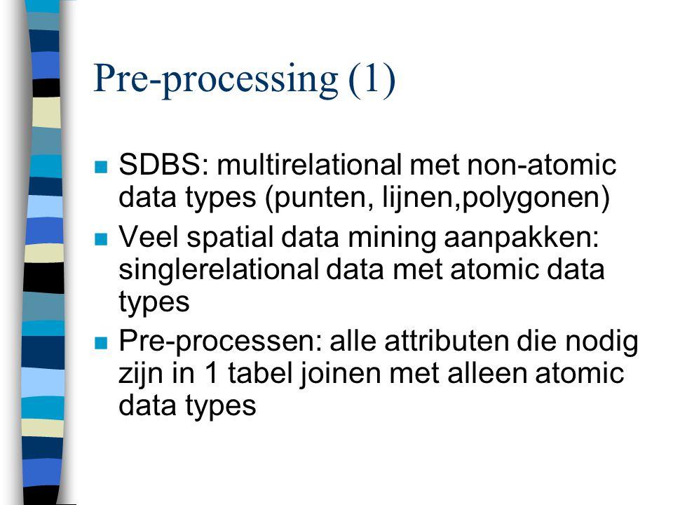 Pre-processing (1) n SDBS: multirelational met non-atomic data types (punten, lijnen,polygonen) n Veel spatial data mining aanpakken: singlerelational data met atomic data types n Pre-processen: alle attributen die nodig zijn in 1 tabel joinen met alleen atomic data types