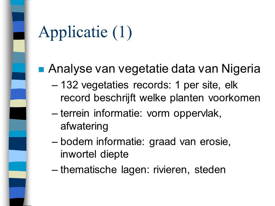 Applicatie (1) n Analyse van vegetatie data van Nigeria –132 vegetaties records: 1 per site, elk record beschrijft welke planten voorkomen –terrein in