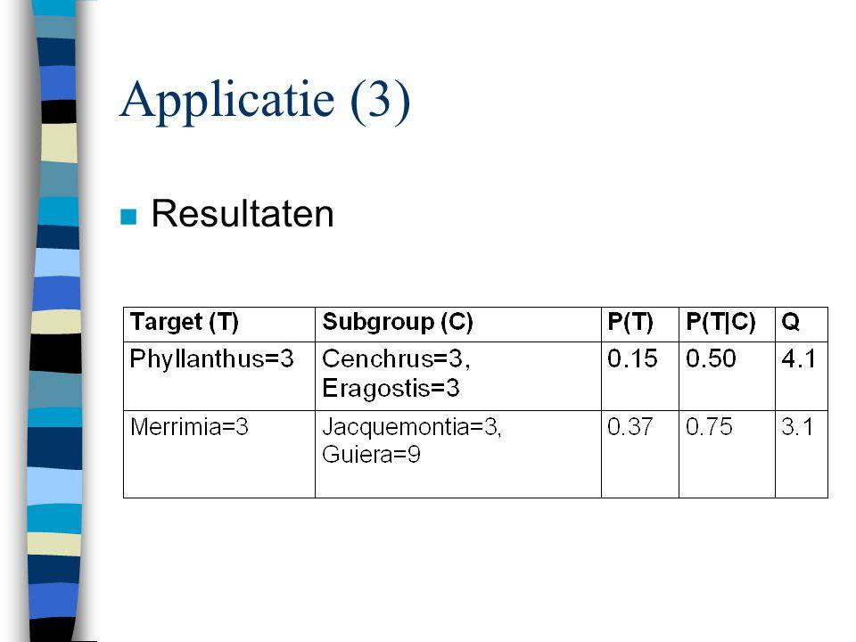 Applicatie (3) n Resultaten