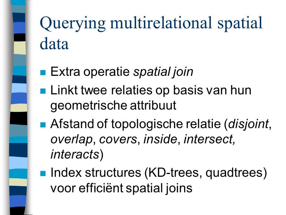 Querying multirelational spatial data n Extra operatie spatial join n Linkt twee relaties op basis van hun geometrische attribuut n Afstand of topologische relatie (disjoint, overlap, covers, inside, intersect, interacts) n Index structures (KD-trees, quadtrees) voor efficiënt spatial joins