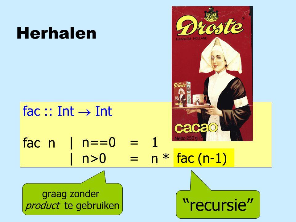 Herhalen fac :: Int  Int fac n = 1 = | n==0 | n>0 recursie n * fac (n-1) graag zonder product te gebruiken