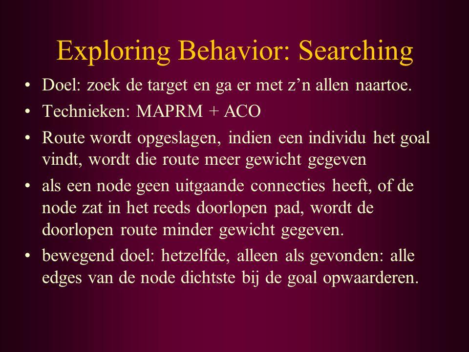 Exploring Behavior: Searching Doel: zoek de target en ga er met z'n allen naartoe.