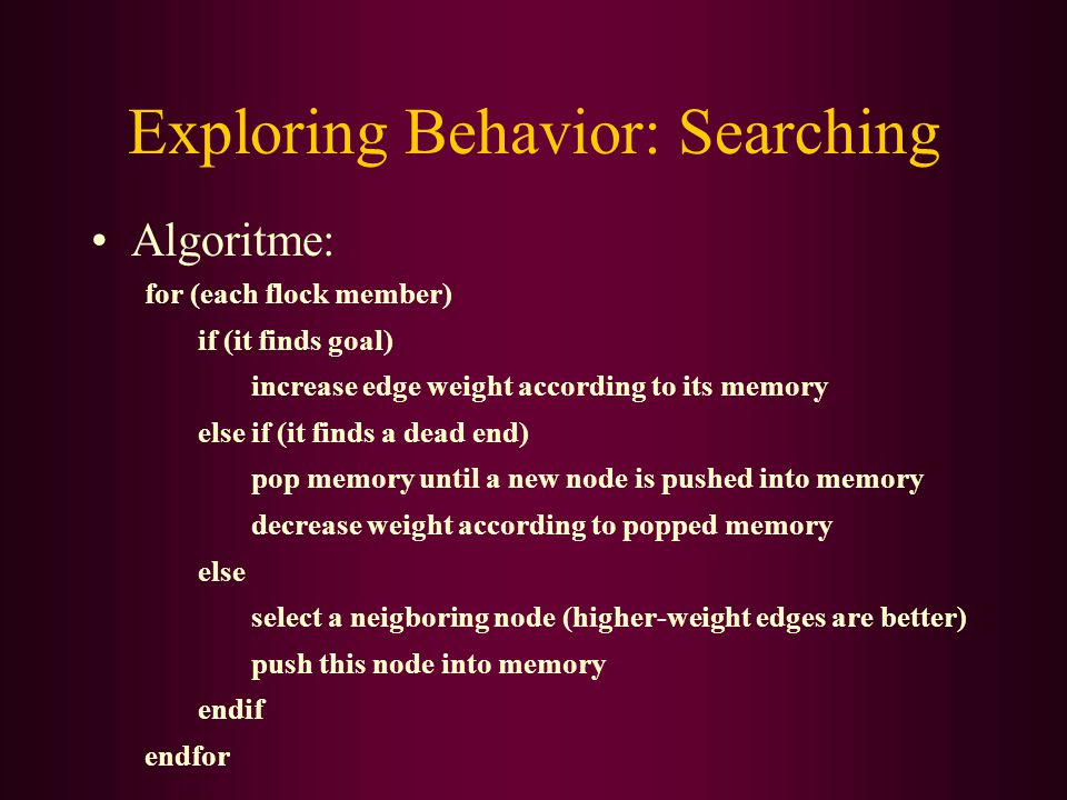 Exploring Behavior: Searching Algoritme: for (each flock member) if (it finds goal) increase edge weight according to its memory else if (it finds a dead end) pop memory until a new node is pushed into memory decrease weight according to popped memory else select a neigboring node (higher-weight edges are better) push this node into memory endif endfor