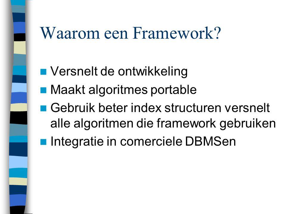 Waarom een Framework? Versnelt de ontwikkeling Maakt algoritmes portable Gebruik beter index structuren versnelt alle algoritmen die framework gebruik