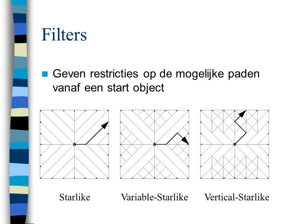 Filters Geven restricties op de mogelijke paden vanaf een start object StarlikeVariable-StarlikeVertical-Starlike