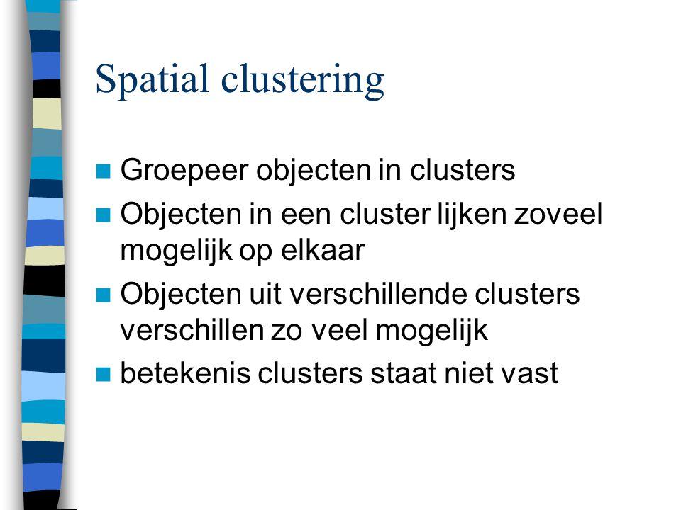 Spatial clustering Groepeer objecten in clusters Objecten in een cluster lijken zoveel mogelijk op elkaar Objecten uit verschillende clusters verschillen zo veel mogelijk betekenis clusters staat niet vast
