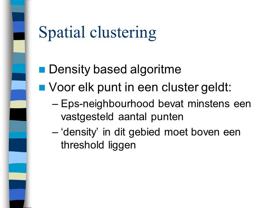 Spatial clustering Density based algoritme Voor elk punt in een cluster geldt: –Eps-neighbourhood bevat minstens een vastgesteld aantal punten –'density' in dit gebied moet boven een threshold liggen