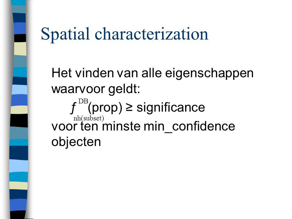 Spatial characterization Het vinden van alle eigenschappen waarvoor geldt: ƒ (prop) ≥ significance voor ten minste min_confidence objecten DB nh(subset)