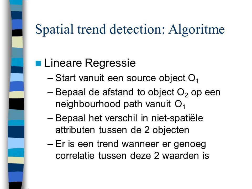 Spatial trend detection: Algoritme Lineare Regressie –Start vanuit een source object O 1 –Bepaal de afstand to object O 2 op een neighbourhood path va