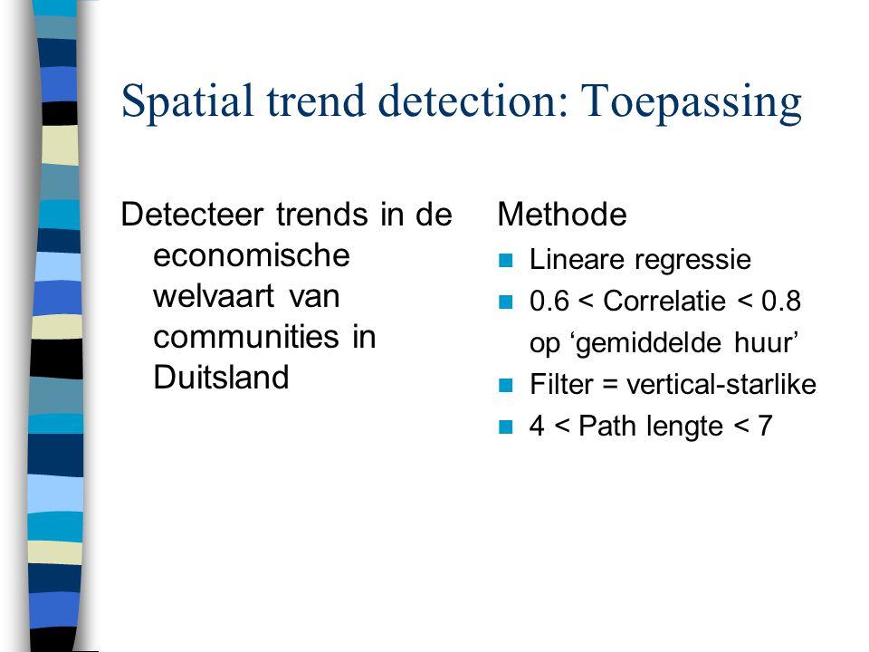 Spatial trend detection: Toepassing Detecteer trends in de economische welvaart van communities in Duitsland Methode Lineare regressie 0.6 < Correlatie < 0.8 op 'gemiddelde huur' Filter = vertical-starlike 4 < Path lengte < 7
