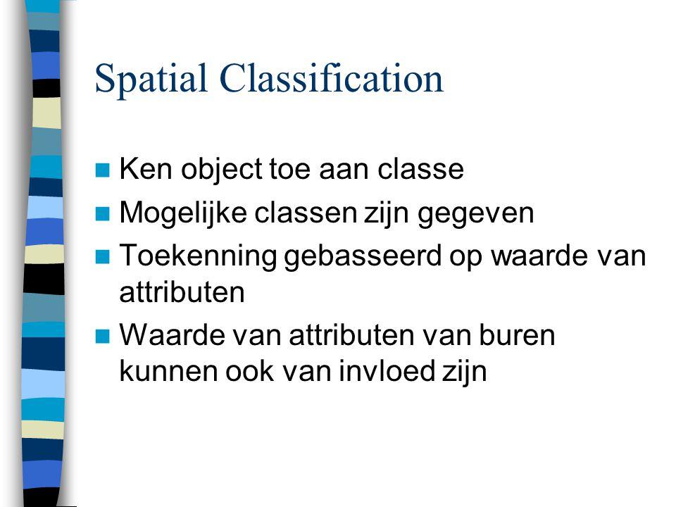 Spatial Classification Ken object toe aan classe Mogelijke classen zijn gegeven Toekenning gebasseerd op waarde van attributen Waarde van attributen v