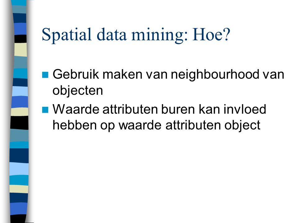 Spatial association rules Beschrijven van associaties door middel van spatiële neighbourhood relaties Is_a(X,town) → close_to(X,Y) and is_a(Y,water) (80%)