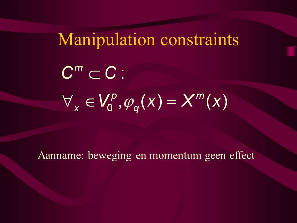 Manipulation constraints Aanname: beweging en momentum geen effect