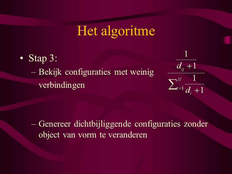 Het algoritme Stap 3: –Bekijk configuraties met weinig verbindingen –Genereer dichtbijliggende configuraties zonder object van vorm te veranderen