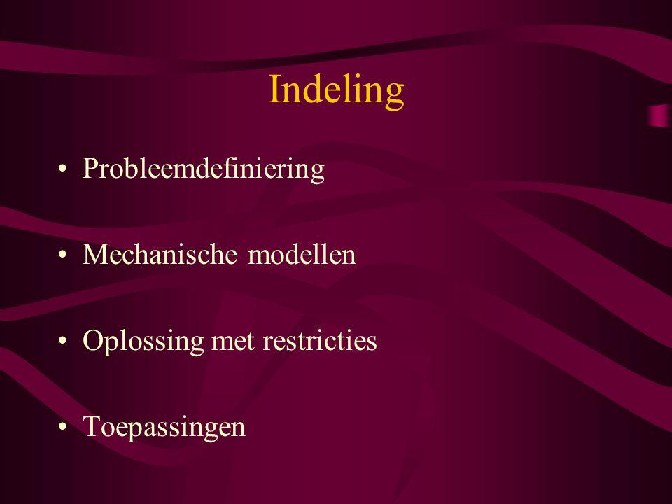 Indeling Probleemdefiniering Mechanische modellen Oplossing met restricties Toepassingen