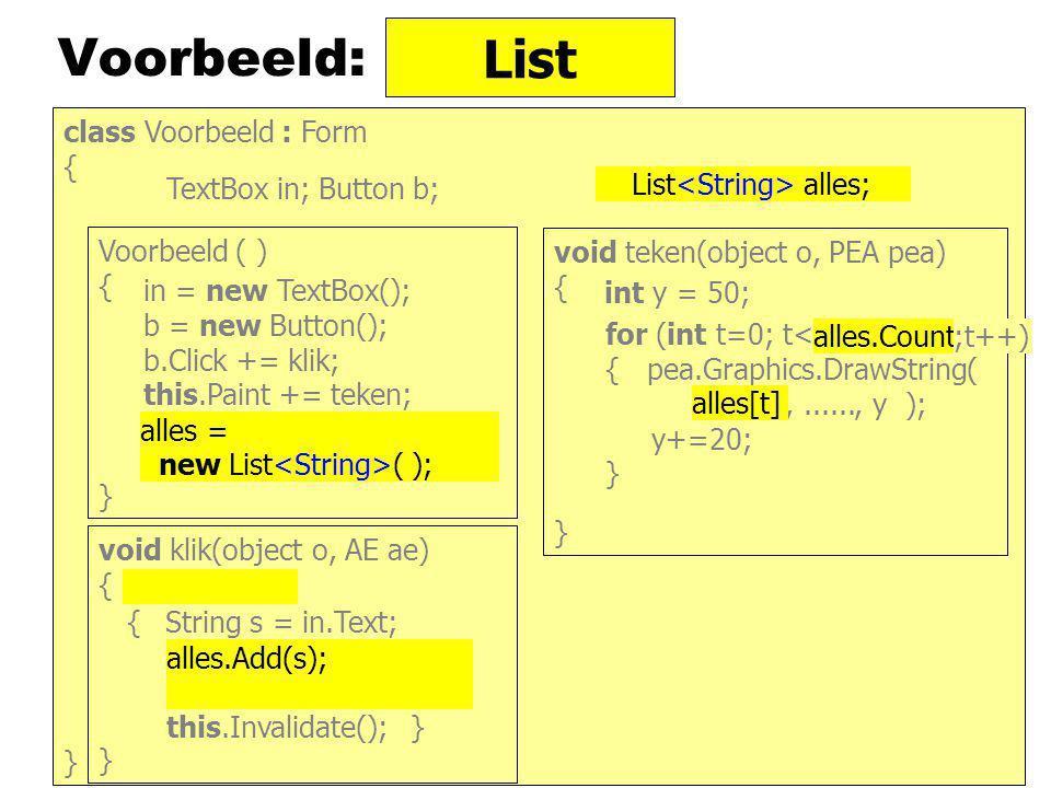 Implementaties van Collections IEnumerable IEnumerator IComparator LinkedList Queue Stack List HashSet SortedSet SortedList Sorted Dictionary IList ISet IDictionary ICollection