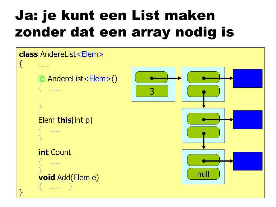 Ja: je kunt een List maken zonder dat een array nodig is class AndereList { } …… interface IList { } int Count { get; } ; void Clear(); void Add(Elem e) Elem this [int p] { get; set; } void Insert (int p, Elem e); © AndereList () { …… } Elem this[int p] { …… } int Count { …… } void Add(Elem e) { …… }