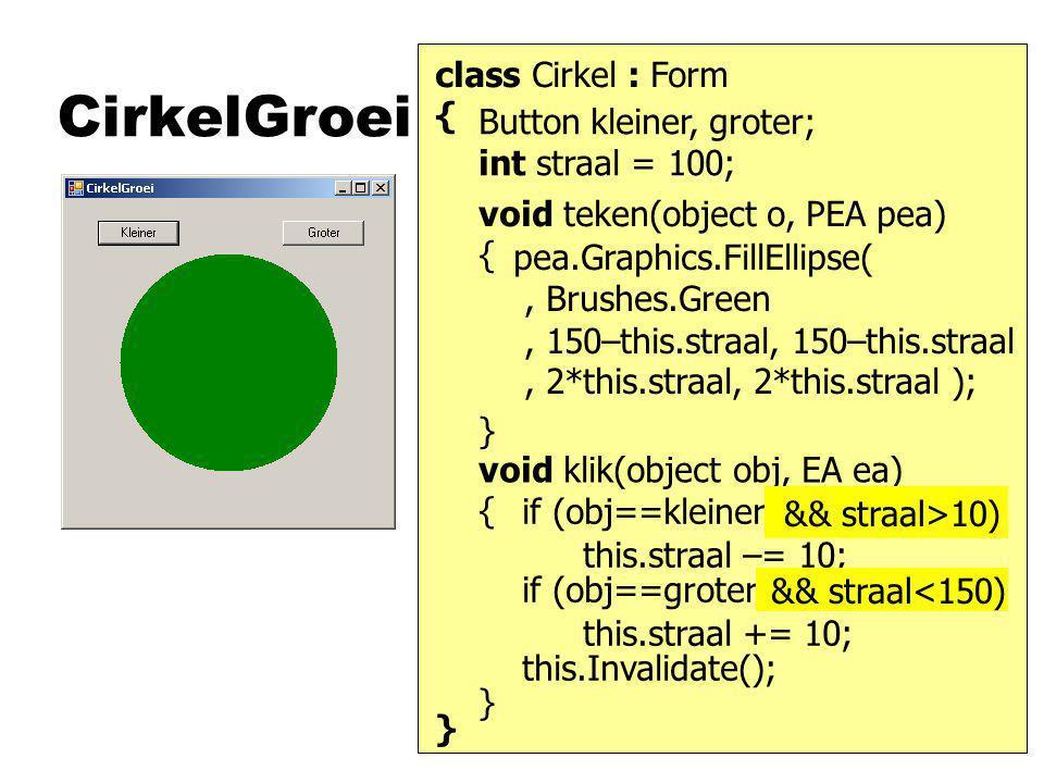 CirkelGroei class Cirkel : Form { } void teken(object o, PEA pea) { } Button kleiner, groter; int straal = 100; void klik(object obj, EA ea) { } pea.Graphics.FillEllipse(, Brushes.Green, 150–this.straal, 150–this.straal, 2*this.straal, 2*this.straal ); this.straal –= 10; this.Invalidate(); if (obj==kleiner) this.straal += 10; if (obj==groter) && straal>10) && straal<150)