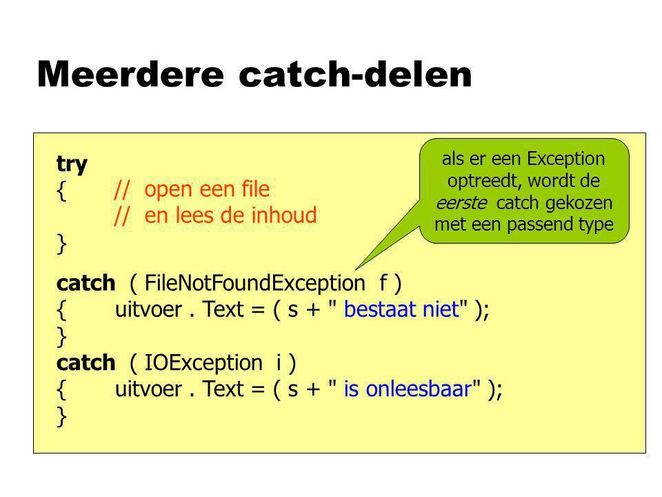 Meerdere catch-delen // open een file // en lees de inhoud try { } catch ( FileNotFoundException f ) { uitvoer.