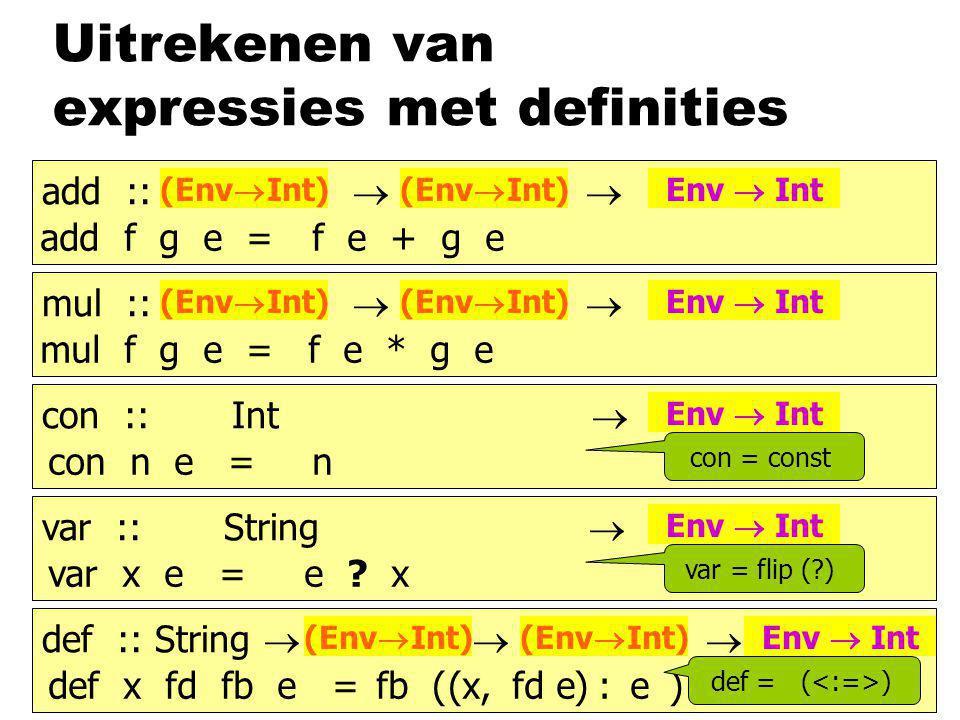 Uitrekenen van expressies met definities add :: b  b  b (Env  Int) Env  Int mul :: b  b  b (Env  Int) Env  Int con :: Int  b Env  Int var :: String  b Env  Int def :: String  b  b  b (Env  Int) Env  Int mul f g e = f e * g e con n e =n var x e =e .