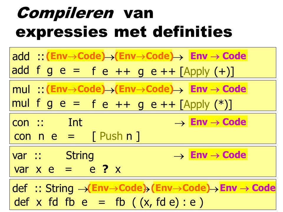 add :: b  b  b mul :: b  b  b con :: Int  b var :: String  b def :: String  b  b  b Compileren van expressies met definities mul f g e = con n e =[ Push n ] var x e =e .