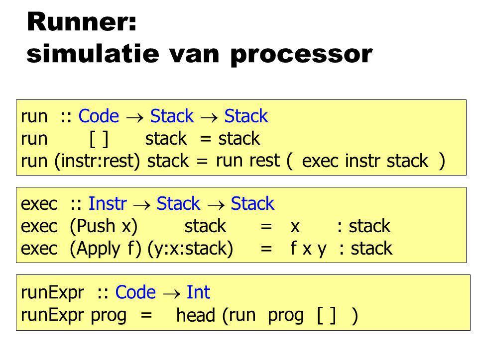 Runner: simulatie van processor run :: Code  Stack  Stack run [ ] stack = stack run (instr:rest) stack = exec instr stack run rest ( ) exec :: Instr  Stack  Stack exec (Push x) stack= x : stack exec (Apply f) (y:x:stack)= f x y : stack runExpr :: Code  Int runExpr prog = run prog [ ] head ( )