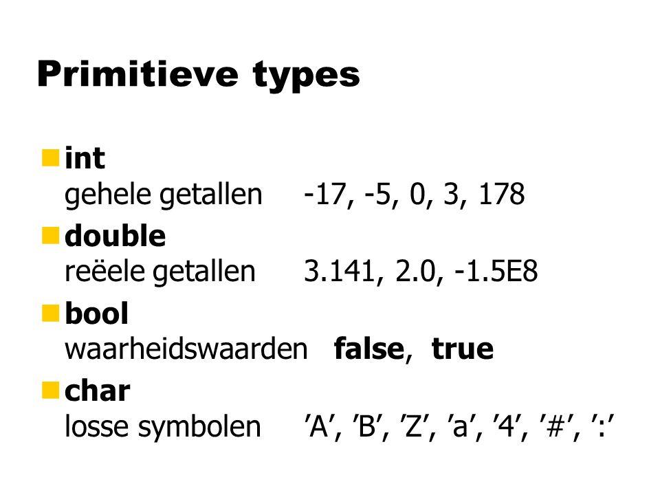 Primitieve types nint gehele getallen-17, -5, 0, 3, 178 ndouble reëele getallen3.141, 2.0, -1.5E8 nbool waarheidswaarden false, true nchar losse symbolen'A', 'B', 'Z', 'a', '4', '#', ':'