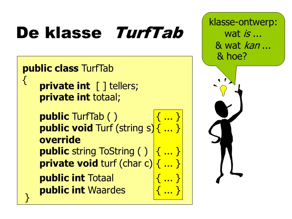 De klasse TurfTab public class TurfTab { private int [ ] tellers; private int totaal; public TurfTab ( ){...