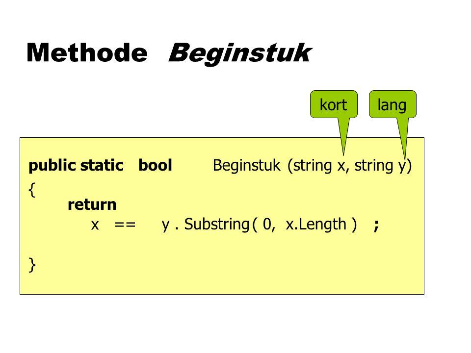 Methode Beginstuk (string x, string y)boolpublic static kortlang {}{} y.