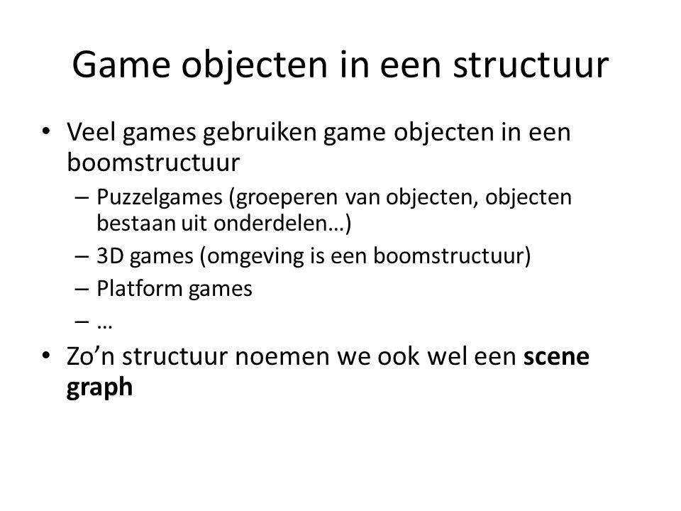 Veel games gebruiken game objecten in een boomstructuur – Puzzelgames (groeperen van objecten, objecten bestaan uit onderdelen…) – 3D games (omgeving is een boomstructuur) – Platform games –…–… Zo'n structuur noemen we ook wel een scene graph Game objecten in een structuur