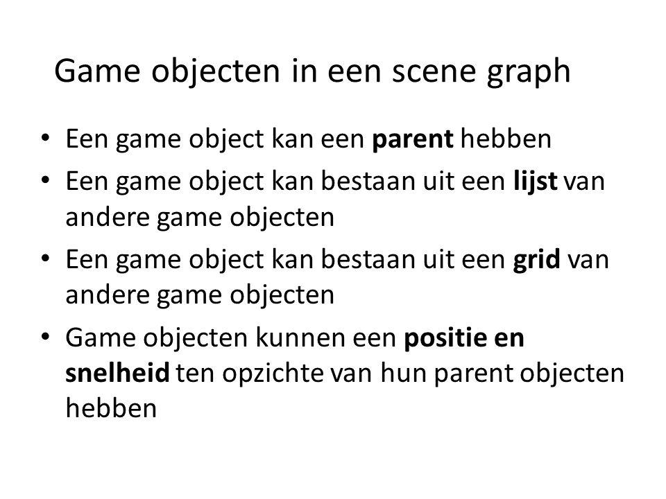 Game objecten in een scene graph Een game object kan een parent hebben Een game object kan bestaan uit een lijst van andere game objecten Een game object kan bestaan uit een grid van andere game objecten Game objecten kunnen een positie en snelheid ten opzichte van hun parent objecten hebben