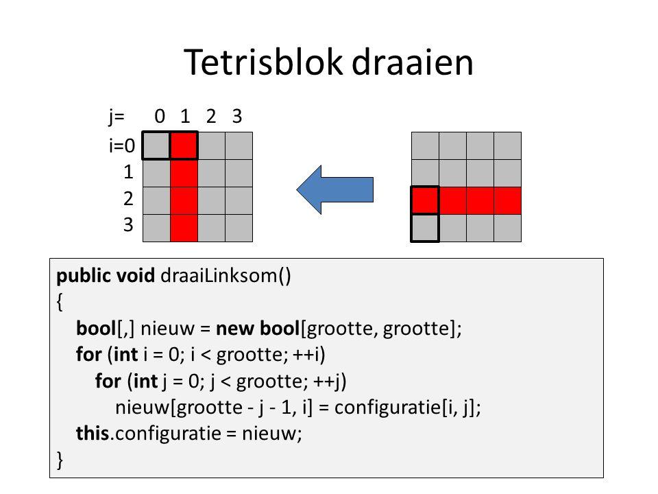 Tetrisblok draaien public void draaiLinksom() { bool[,] nieuw = new bool[grootte, grootte]; for (int i = 0; i < grootte; ++i) for (int j = 0; j < grootte; ++j) nieuw[grootte - j - 1, i] = configuratie[i, j]; this.configuratie = nieuw; } i=0 1 2 3 j= 0 1 2 3