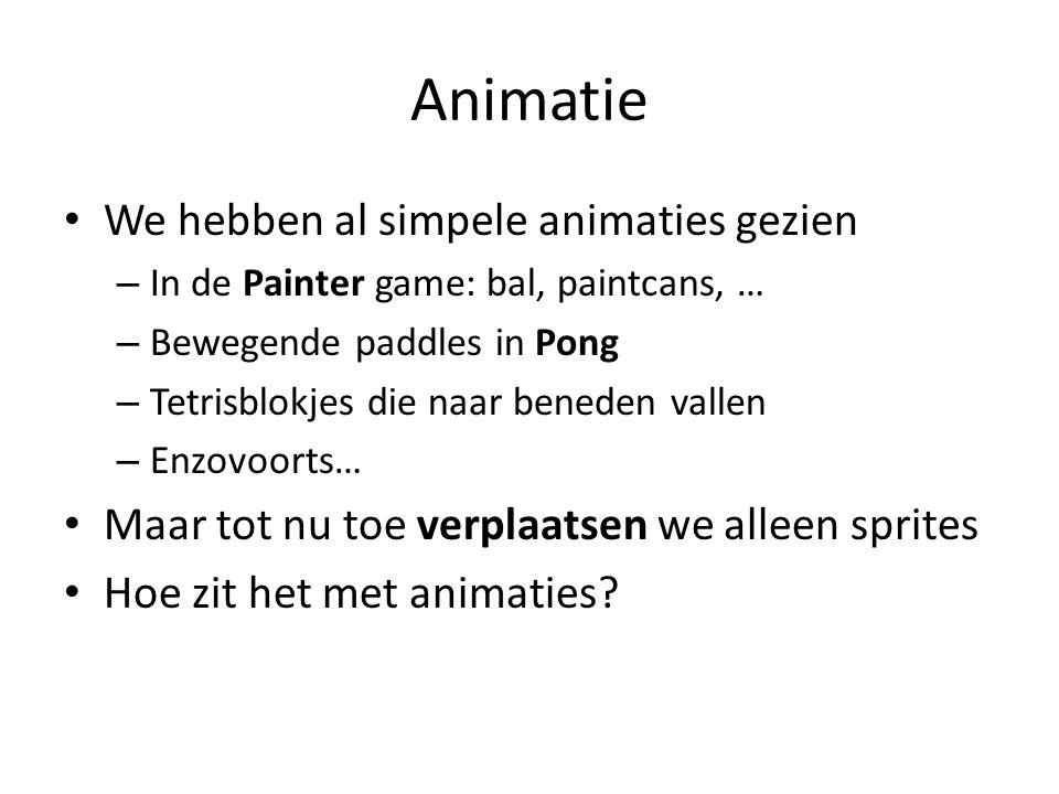 Animatie We hebben al simpele animaties gezien – In de Painter game: bal, paintcans, … – Bewegende paddles in Pong – Tetrisblokjes die naar beneden vallen – Enzovoorts… Maar tot nu toe verplaatsen we alleen sprites Hoe zit het met animaties