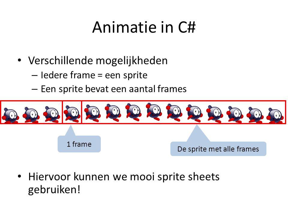 De Player klasse class Player : AnimatedGameObject { public Player(Vector2 start) : base(2, player ) { this.LoadAnimation( spr_idle , idle , true); this.LoadAnimation( spr_run@13 , run , true, 0.05f); this.LoadAnimation( spr_jump@14 , jump , false, 0.05f); this.LoadAnimation( spr_celeb@14 , celebrate , false, 0.05f); this.LoadAnimation( spr_die@5 , die , false); this.LoadAnimation( spr_expl@5x5 , explode , false, 0.04f); startPosition = start; Reset(); } …