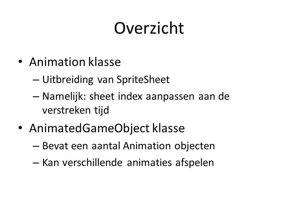 Overzicht Animation klasse – Uitbreiding van SpriteSheet – Namelijk: sheet index aanpassen aan de verstreken tijd AnimatedGameObject klasse – Bevat een aantal Animation objecten – Kan verschillende animaties afspelen