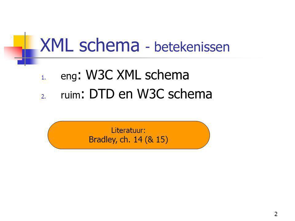2 XML schema - betekenissen 1. eng : W3C XML schema 2.