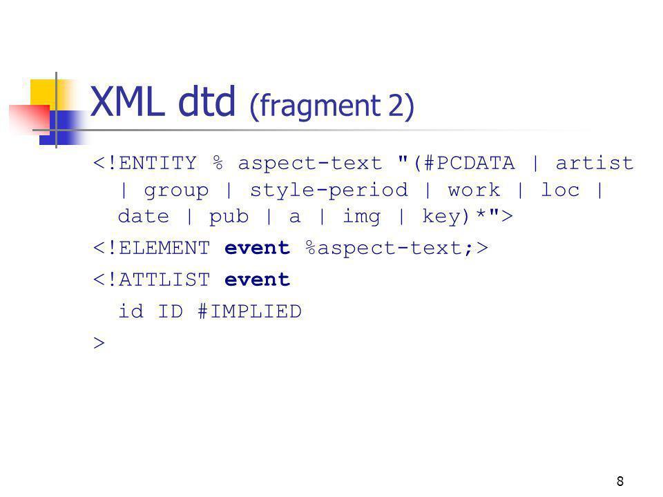 8 XML dtd (fragment 2) <!ATTLIST event id ID #IMPLIED >