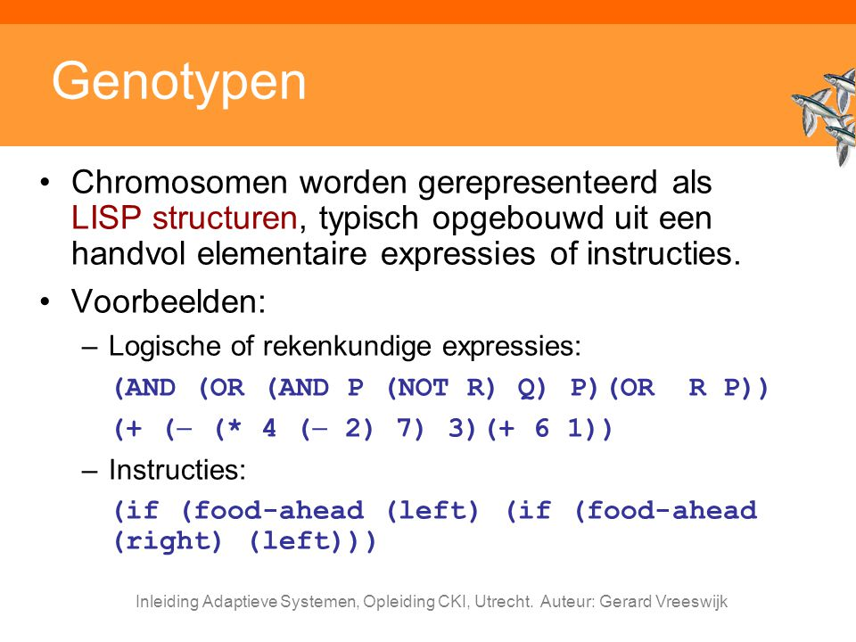 Inleiding Adaptieve Systemen, Opleiding CKI, Utrecht. Auteur: Gerard Vreeswijk Genotypen Chromosomen worden gerepresenteerd als LISP structuren, typis