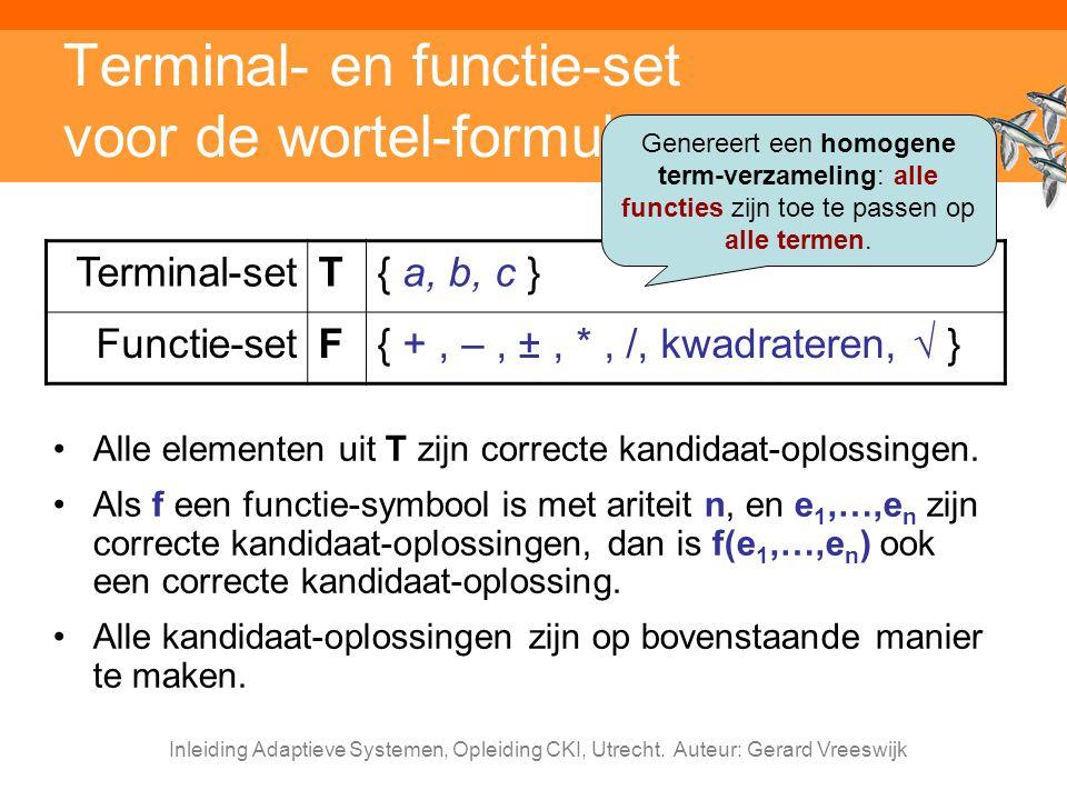 Inleiding Adaptieve Systemen, Opleiding CKI, Utrecht. Auteur: Gerard Vreeswijk Terminal- en functie-set voor de wortel-formule Alle elementen uit T zi