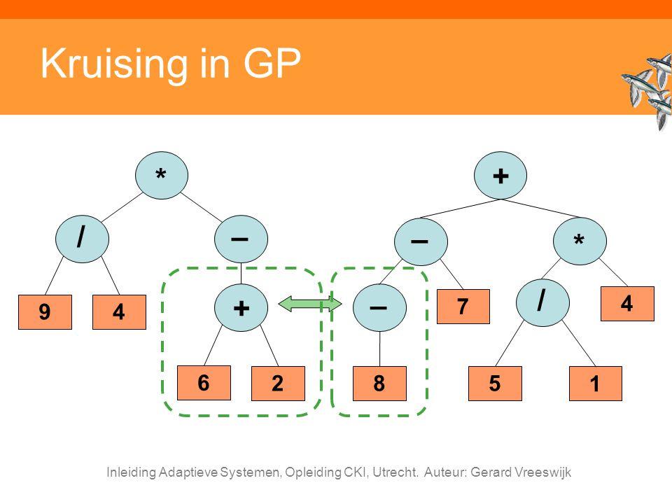 Inleiding Adaptieve Systemen, Opleiding CKI, Utrecht. Auteur: Gerard Vreeswijk Kruising in GP + – 7 * 4 / 5 1 – 8 – 9 * 4 / + 6 2