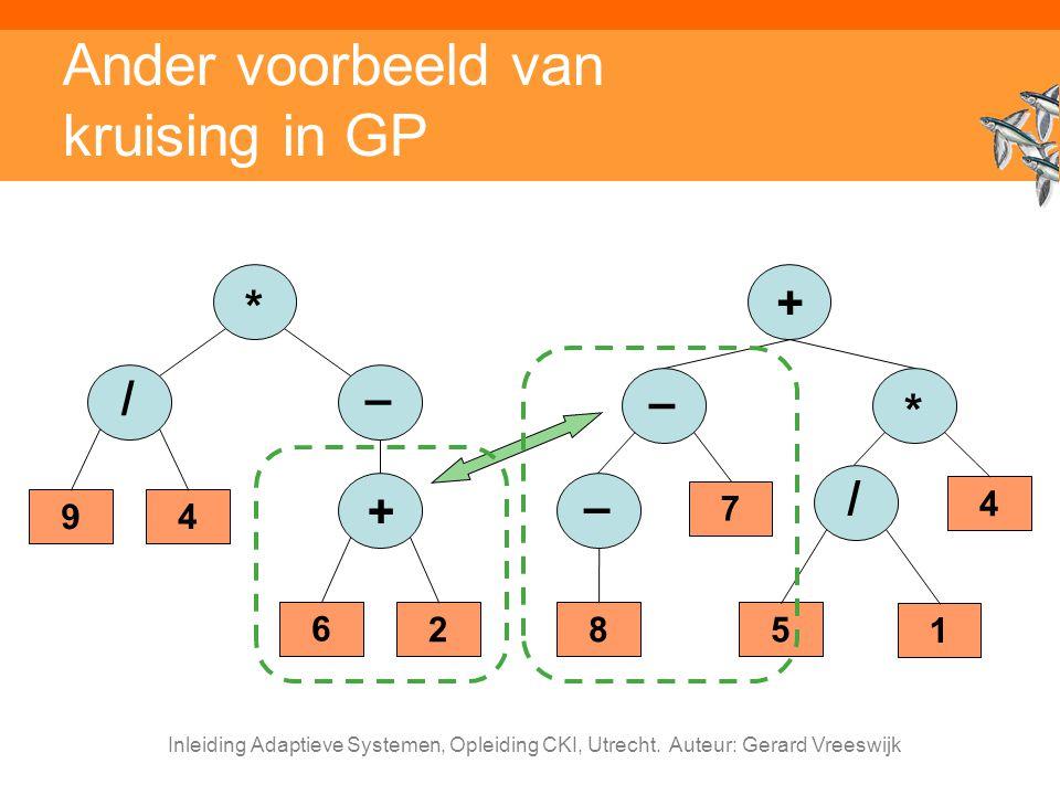Inleiding Adaptieve Systemen, Opleiding CKI, Utrecht. Auteur: Gerard Vreeswijk Ander voorbeeld van kruising in GP + * 4 / 5 1 – 7 – 8 – 9 * 4 / + 6 2
