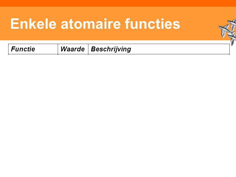 Inleiding Adaptieve Systemen, Opleiding CKI, Utrecht. Auteur: Gerard Vreeswijk Enkele atomaire functies FunctieWaardeBeschrijving (s1)boolReturns my i